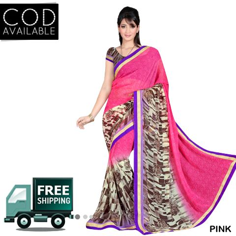 Swaraaa Printed Georgette Saree With Blouse Piece