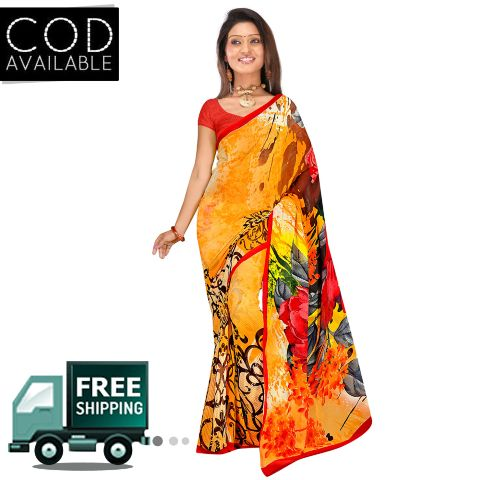 Swaraaa Orange Weightless Georgette Printed Saree With Blouse Piece