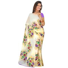Swaraaa Off White Weightless Georgette Printed Saree With Blouse Piece