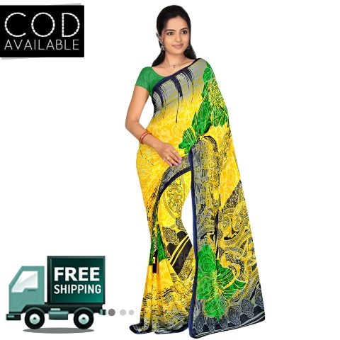 Swaraaa Yellow Weightless Georgette Printed Saree With Blouse Piece