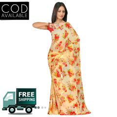 Swaraaa Beige Weightless Georgette Printed Saree With Blouse Piece
