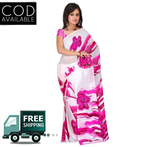 Swaraaa White Weightless Georgette Printed Saree With Blouse Piece