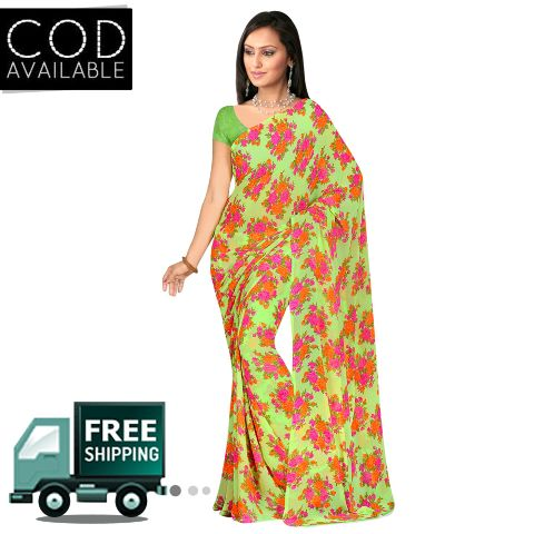 Swaraaa Green Weightless Georgette Printed Saree With Blouse Piece