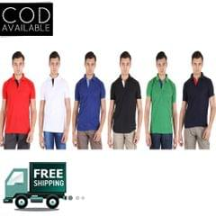 SLS Pack of 6 Multicolor Polo Neck T-Shirts For Men