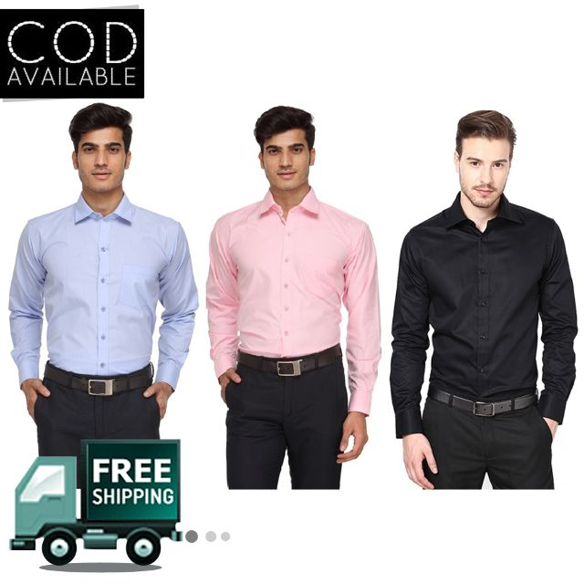 KP Men's Combo Of 3 Solid Casual Shirts