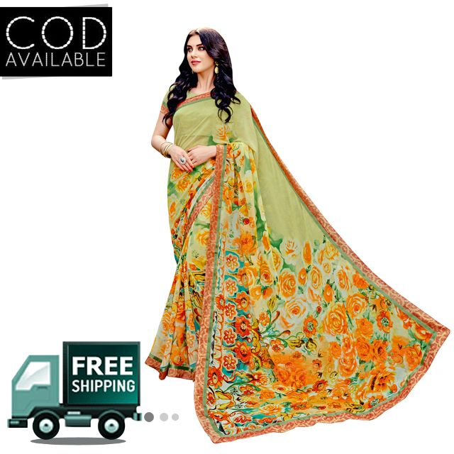 Swaraaa Green Georgette Printed Saree