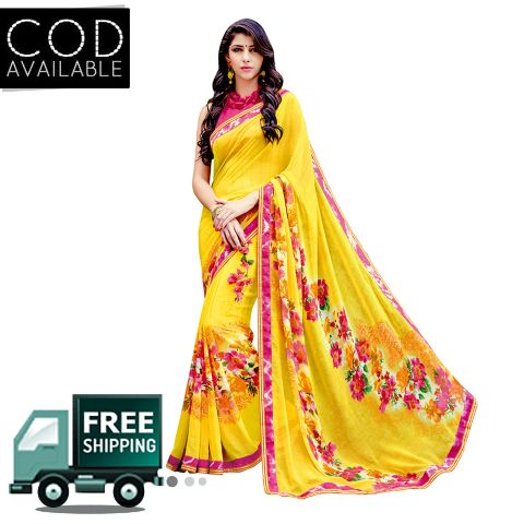 Swaraaa Yellow Georgette Printed Saree