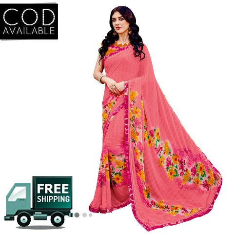 Swaraaa Peach Georgette Printed Saree