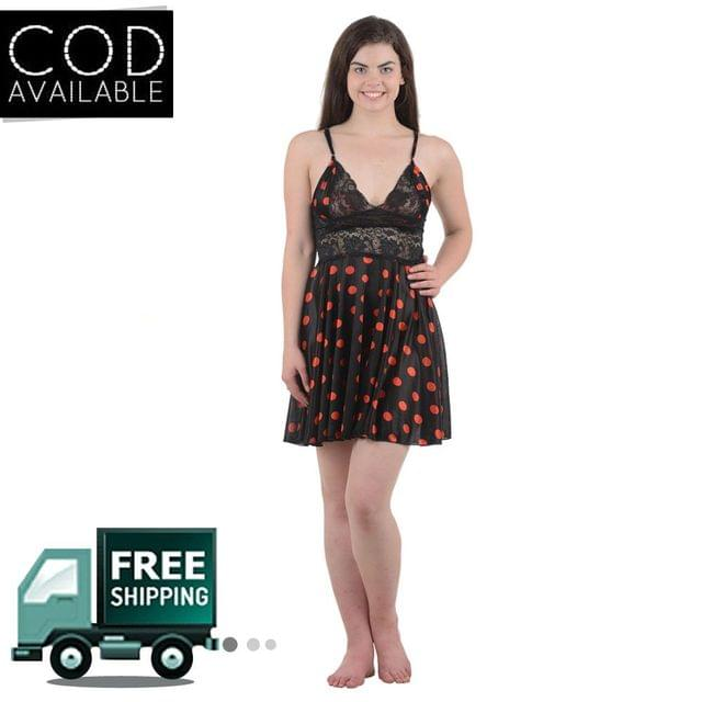 Boosah Black Polka Print Babydoll Dress