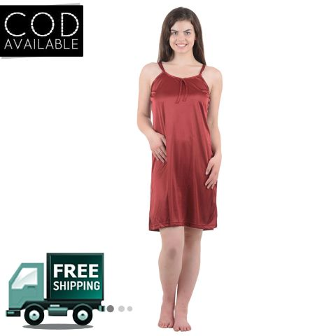 Boosah Maroon Solid Babydoll Dress