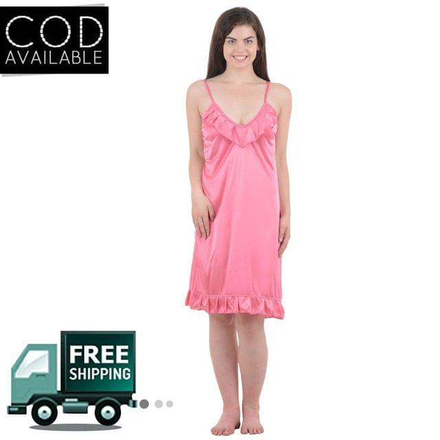 Boosah Pink Solid Babydoll Dress