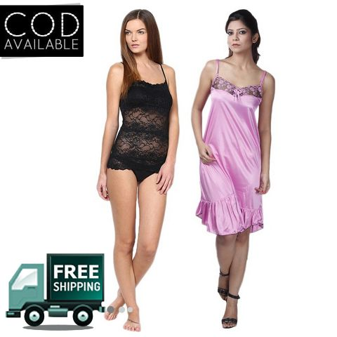 Boosah Combo of 2 Solid Babydoll Dress