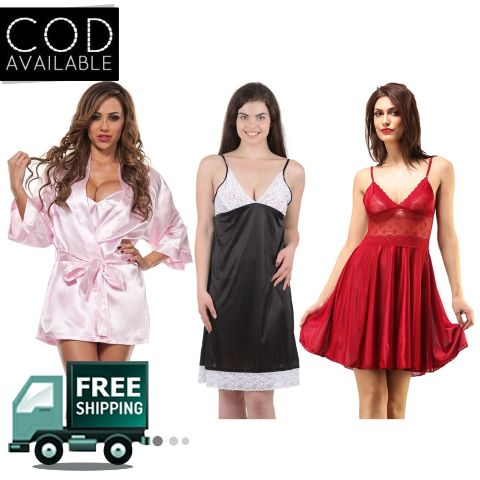 Boosah Combo Of 3 Solid Babydoll Dress