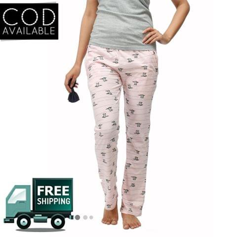 Adam N' Eve Women's Pink Penguin Printed Lower