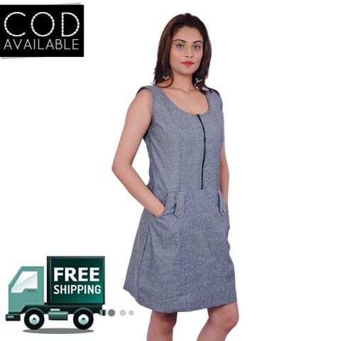 Adam N' Eve Grey Melange Zipper Dress