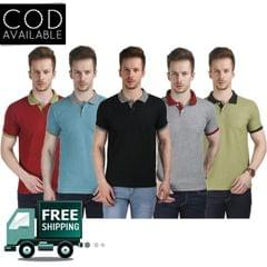 Stylogue Solid Men's Polo Neck Multicolor T-Shirt(Pack of 5)
