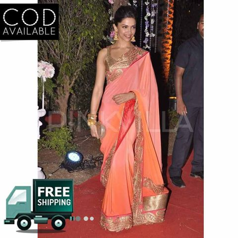 Deepika Padukone Orange Peach Bollywood Saree By Vamika