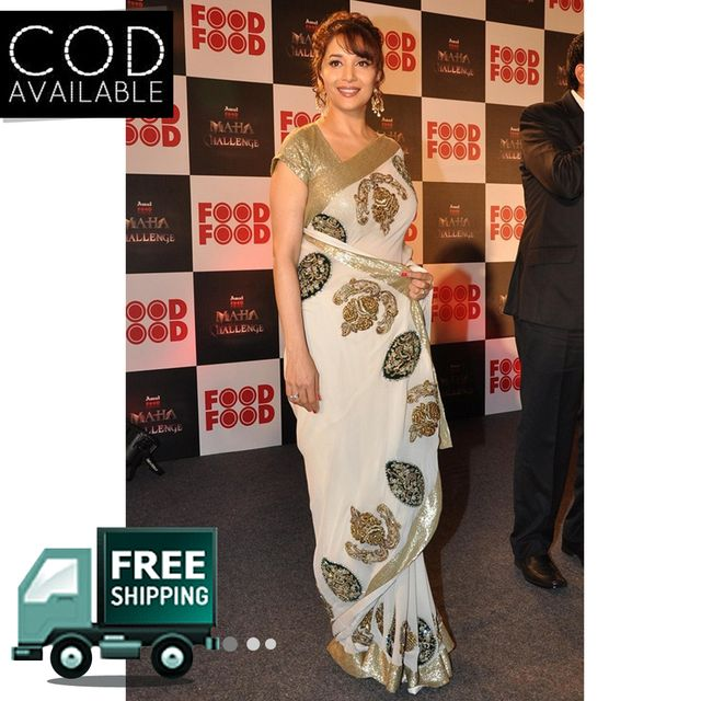 Madhuri Dixit Amul Food Food Mahachallenge Off White Saree By Vamika