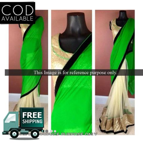 Bollywood Style Green & Beige Half &Half Saree By Vamika