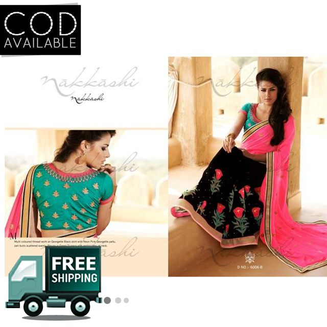 Bollywood Style Black & Pink Embroiderd Saree By Vamika