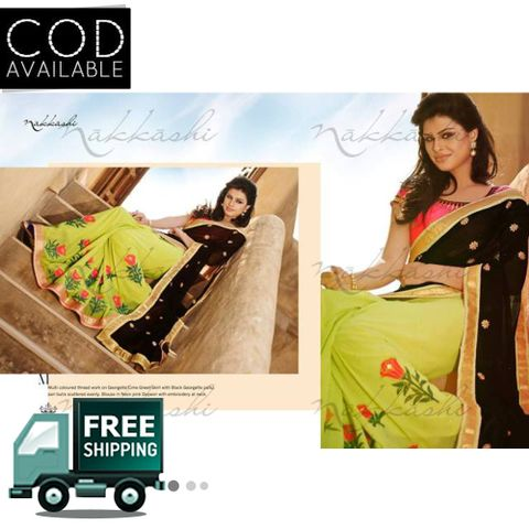 Bollywood Style Black & Parrot Green Embroiderd Saree By Vamika