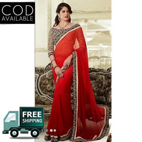 Vamika Red Crepe Saree