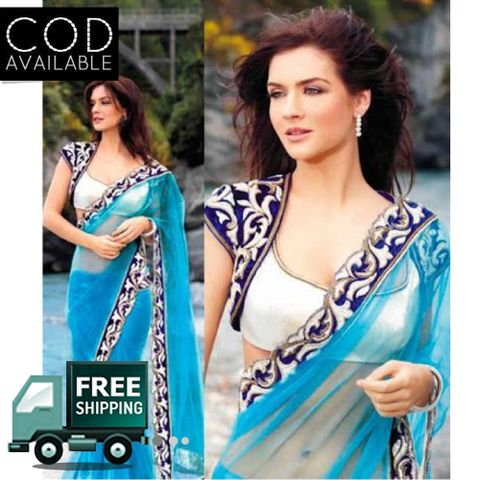 Neha Dalvi Sky Blue Saree By Vamika