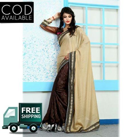 Vamika Golden & Coffee Georgette Saree
