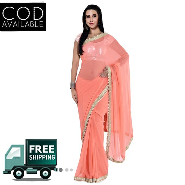 Karishma Kapoor Peach Georgette Moti Work Saree By Vamika