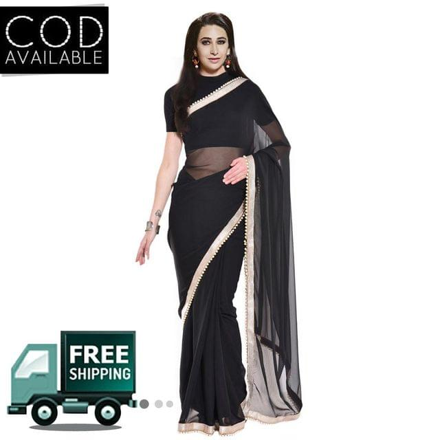 Karishma Kapoor Black Georgette Moti Work Saree By Vamika