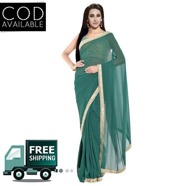 Karishma Kapoor Green Georgette Moti Work Saree By Vamika