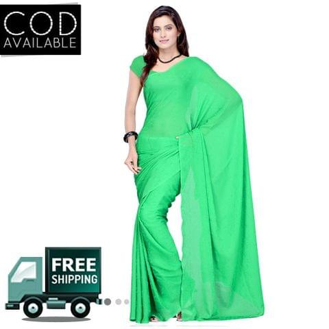 Vamika Parrot Green Faux Georgette Saree