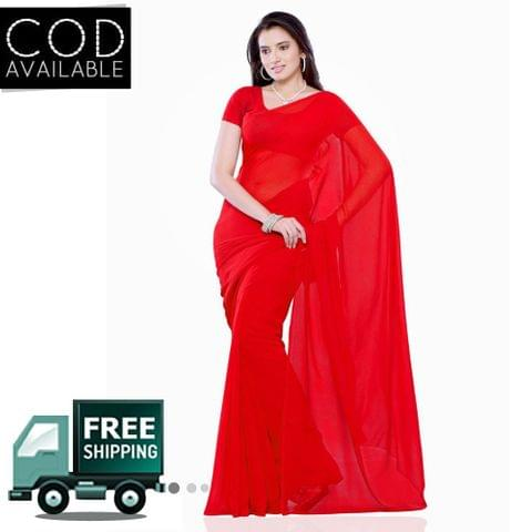 Vamika Red Faux Georgette Saree