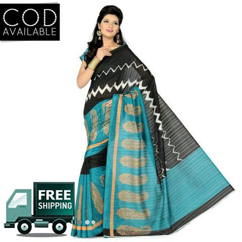 Amisha Patel Black & See Green Bhagalpuri Silk Saree By Vamika