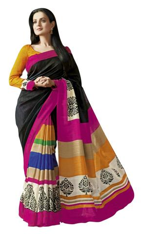 Amisha Patel Multicolor Bhagalpuri Silk Saree By Vamika
