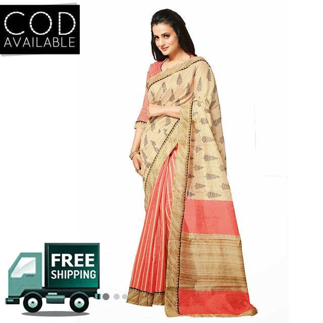 Amisha Patel Beige & Crimson Red Bhagalpuri Saree By Vamika