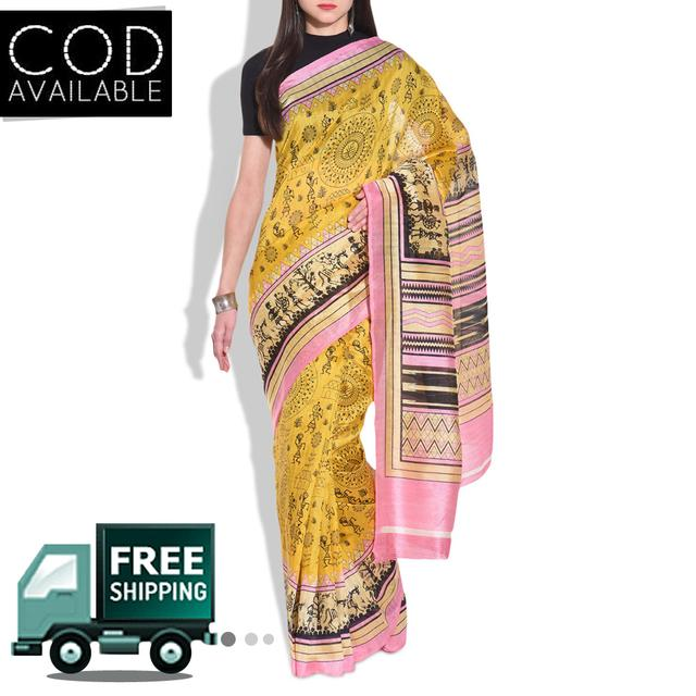 Vamika Yellow Printed Bhagalpuri Silk Saree