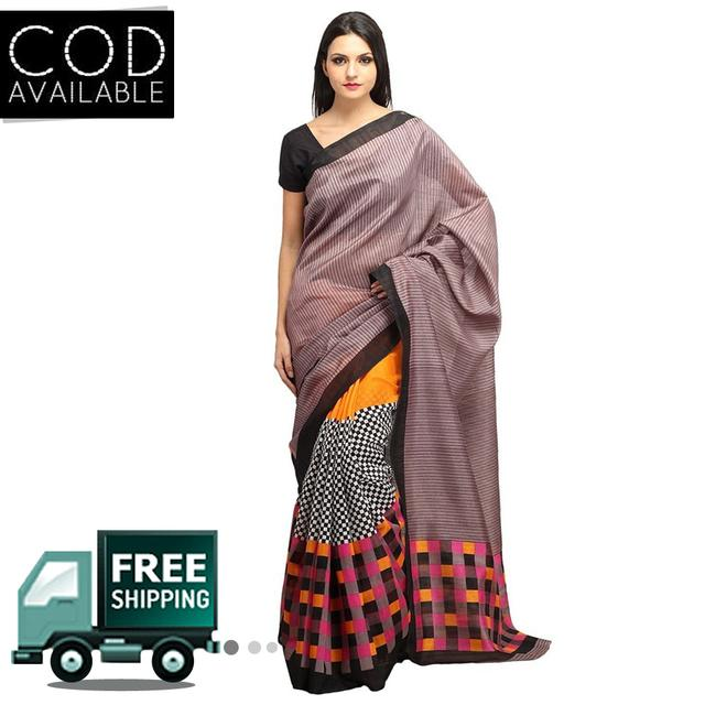 Vamika Multicolor Printed Bhagalpuri Silk Saree