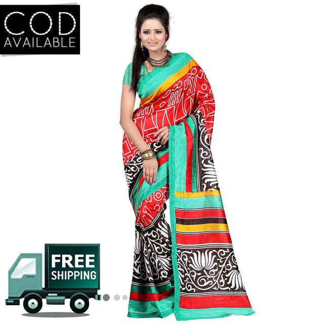 Vamika Multicolor Printed Bhagalpuri Strawberry Silk Saree