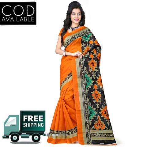 Vamika Orange Floral Pallu Bhagalpuri Silk Saree