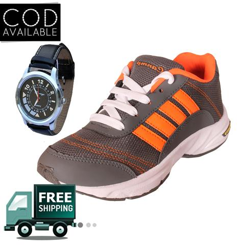 Delux Look Branded Men's Orange Sports Shoes With Watch Free