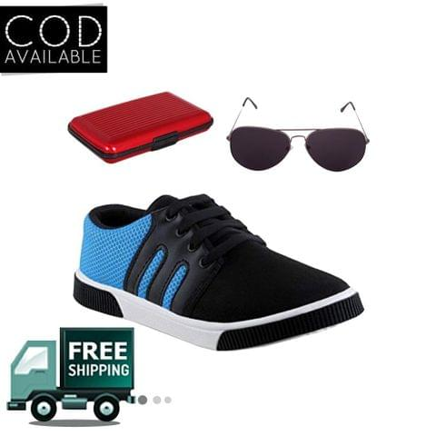 Delux Look Branded Men's Blue Casual Shoes With Aluma Wallets & Sunglasses Free