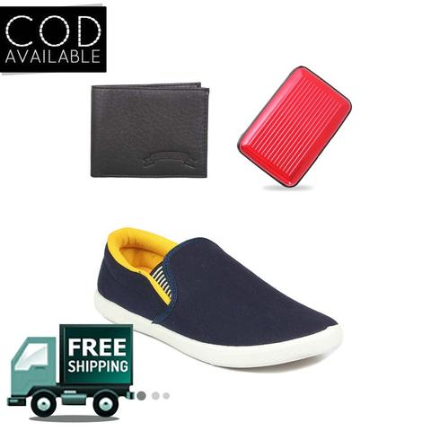 Delux Look Branded Men's Yellow Casual Shoes With Aluma & Leather Wallet Free