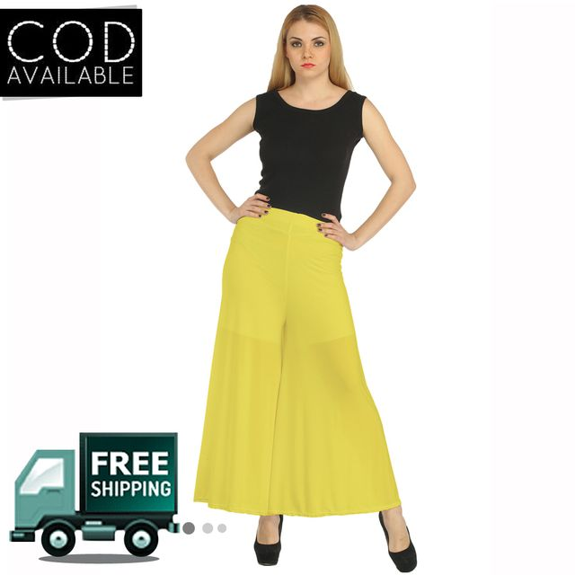 Fashion Shoppe Yellow Solid Palazzo