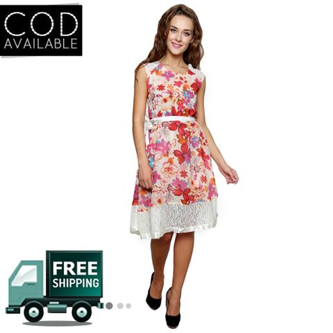 Lee Marc White Georgette Dress