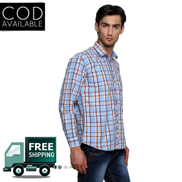 Lee Marc Blue Checkered Casual Shirt