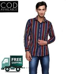 Lee Marc Multicolor Striped Casual Shirt