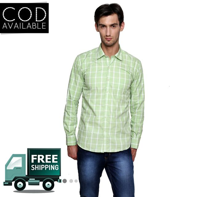 Lee Marc Green Checkered Casual Shirt