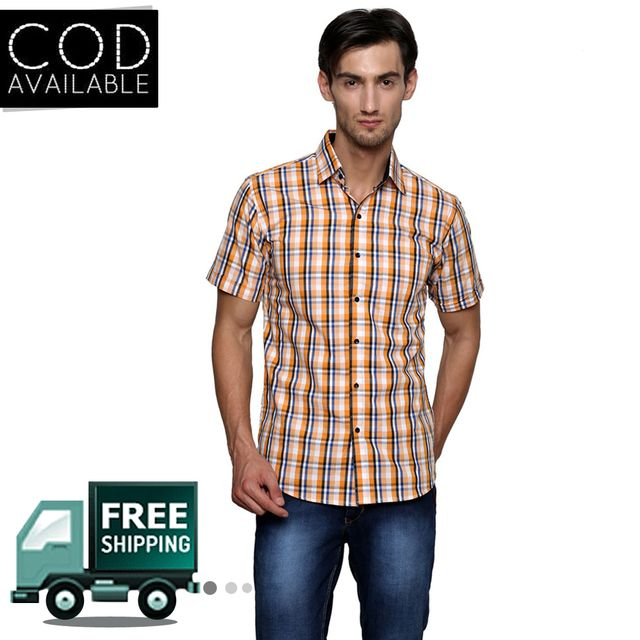 Lee Marc Orange Checkered Casual Shirt