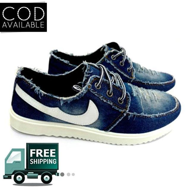 Hazart Stylish Torn Style Blue Canvas Men's Casual Shoes
